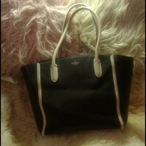 AUTHENTIC KATE SPADE XL BLACK LEATHER TOTE BAG